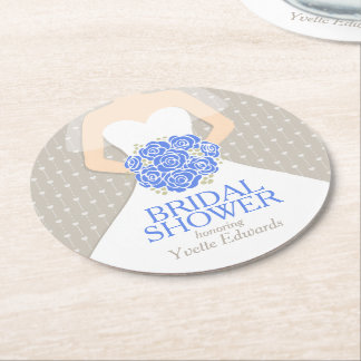 bridal shower blue white dress custom coasters