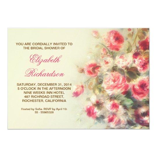 bridal shower blush pink roses watercolor card