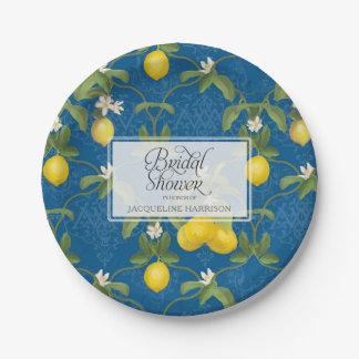 Bridal Shower BOHO Royal Blue Lemon Flower Citrus Paper Plate