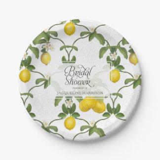 Bridal Shower BOHO Summer Lemon Leaf Flower Citrus Paper Plate