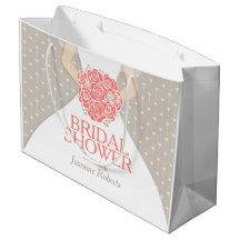 Bridal shower bride dress personalized gift bag large gift bag