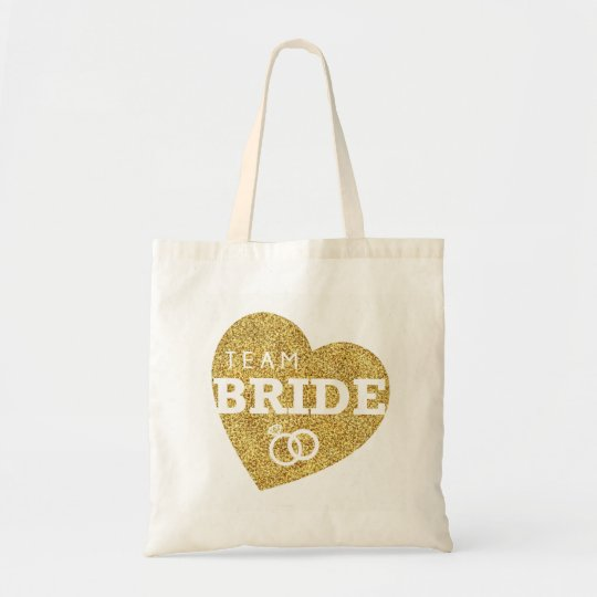 Bridal Shower Bride Heart Team Bride Gold Glitter