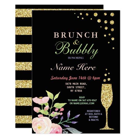 Bridal Shower Brunch & Bubbly Gold Flower Invite