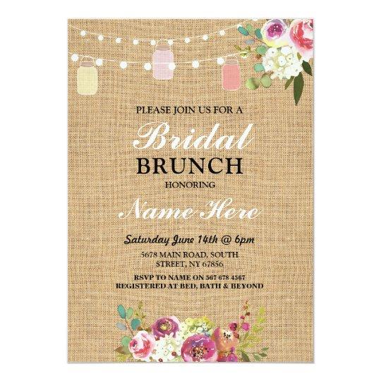 Bridal Shower Brunch Invite Burlap Floral Lights