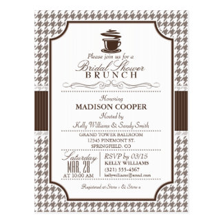 Bridal Shower Brunch; Taupe Houndstooth Invite Postcard