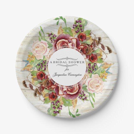Bridal Shower Burgundy Rose Floral Watercolor Wood Paper
