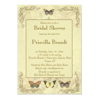Bridal Shower butterflies old roses 13 Cm X 18 Cm Invitation Card