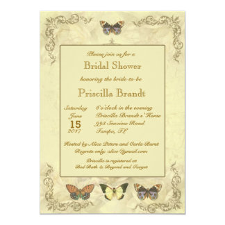 Bridal Shower butterflies old roses original 13 Cm X 18 Cm Invitation Card