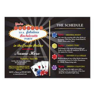 Bridal Shower Casino Vegas Itinerary Bachelorette 13 Cm X 18 Cm Invitation Card