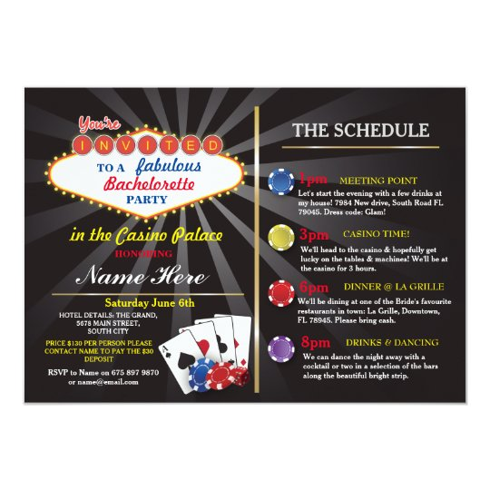 Bridal Shower Casino Vegas Itinerary Bachelorette Card