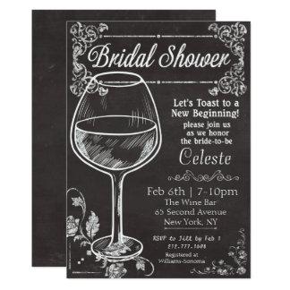 Bridal Shower Chalk Chalkboard Wine Invitation