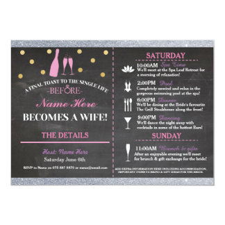 Bridal Shower Chalk Itinerary Bachelorette Invite