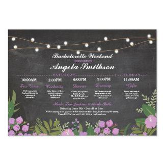 Bridal Shower Chalk Purple Itinerary Bachelorette Card