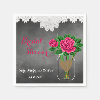 Bridal Shower Chalkboard Mason Jar - Pink Roses Paper Napkin