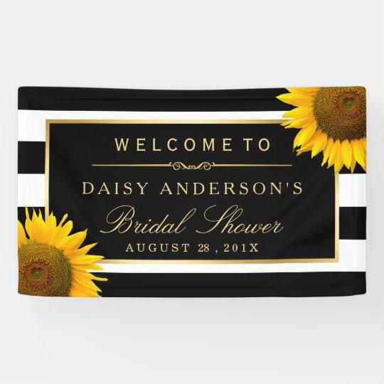 Bridal Shower Classy Sunflower Black White Stripes Banner