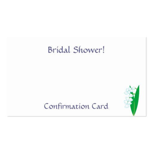 Bridal Shower!, Confirmation-Customize Business Card Templates