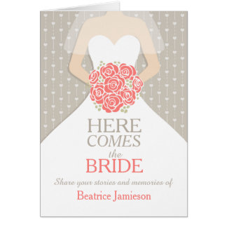 Bridal shower coral memories keepsake card
