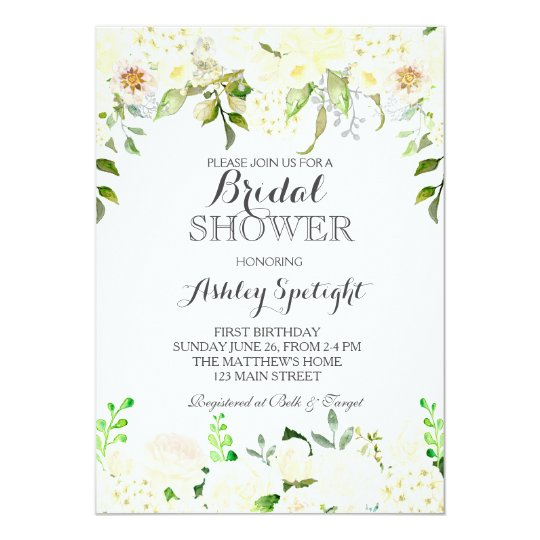 Bridal Shower cream Beautiful Floral Invitation, Card