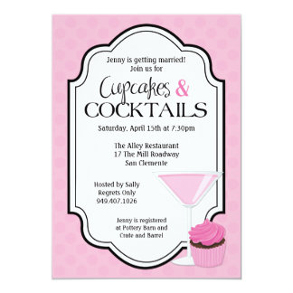 Bridal Shower Cupcakes and Cocktails 13 Cm X 18 Cm Invitation Card