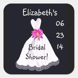 Bridal Shower Custom Name Date Wedding Dress Square Sticker