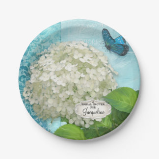 Bridal Shower Damask White Hydrangea Butterfly Art 7 Inch Paper Plate