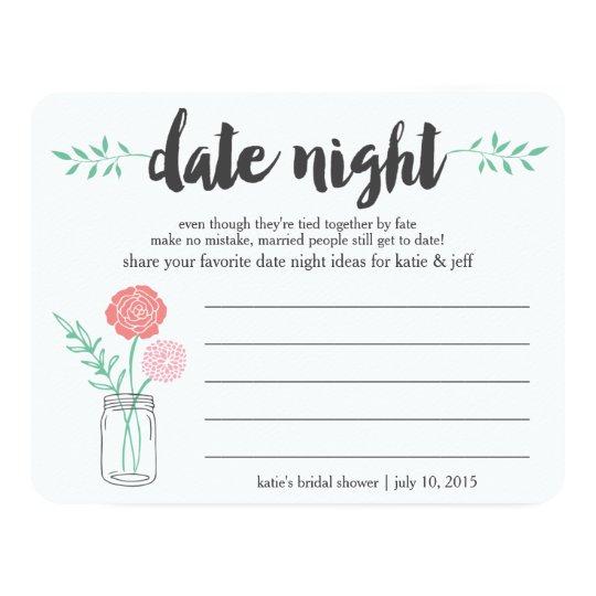 Bridal Shower Date Night Idea Card | Mason