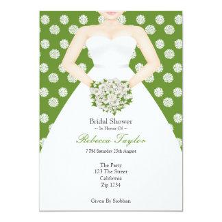 Bridal Shower Elegant Wedding Dress Green Flowers Personalized Invitations