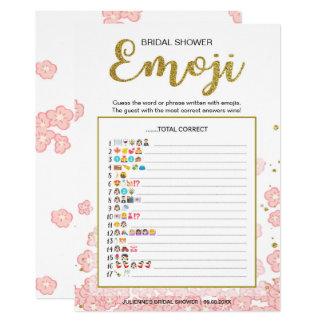 Bridal Shower Emoji Dictionary Game | Gold Pink Card