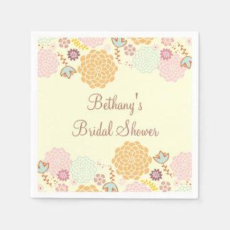 Bridal Shower Fancy Modern Floral Disposable Napkins