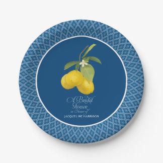 Bridal Shower Farm Royal Blue Lemon Flower Citrus Paper Plate