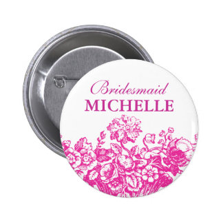 Bridal Shower Favor Floral Basket Pink 6 Cm Round Badge