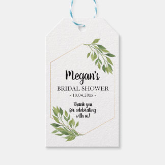 Bridal Shower Favor Gift Tag greenery botanical