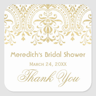 Bridal Shower Favor Sticker | Gold Vintage Glamour