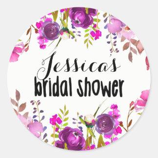 Bridal Shower Favor Sticker - Purple Watercolor
