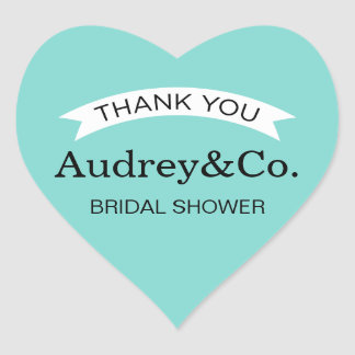 Bridal Shower Favor Stickers | Aqua Blue