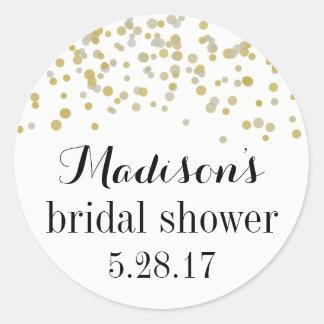 Bridal Shower - Favor Stickers Champagne Confetti
