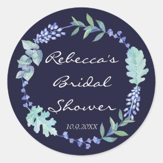 bridal shower favors stickers navy blue floral