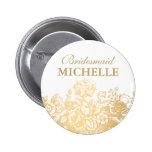 Bridal Shower Favour Floral Basket Gold Pinback Buttons