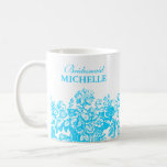 Bridal Shower Favour Floral Basket Turquoise Basic White Mug