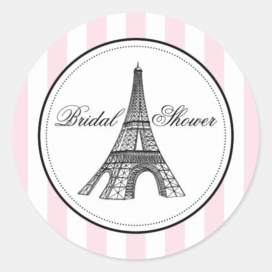 Bridal Shower Favour Sticker   Paris France Theme