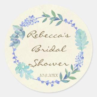 bridal shower favours stickers blue floral wreath