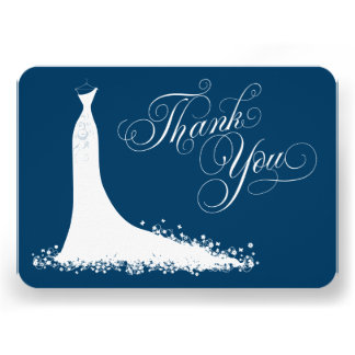 Bridal Shower Flat Thank You Cards Wedding Gown