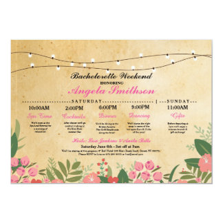 Bridal Shower Floral Itinerary Bachelorette Invite
