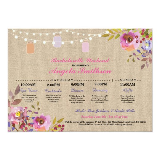 Bridal Shower Floral Jars Itinerary Bachelorette Card