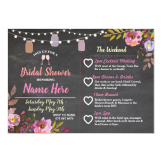 Bridal Shower Floral Jars Pink Itinerary Chalk Card