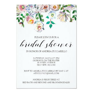 Bridal Shower Floral Watercolor Invitation