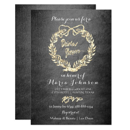 Bridal Shower Floral Wreath Faux Gold Gray Card