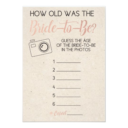 Bridal Shower Game- Guess Bride's Age from Photo