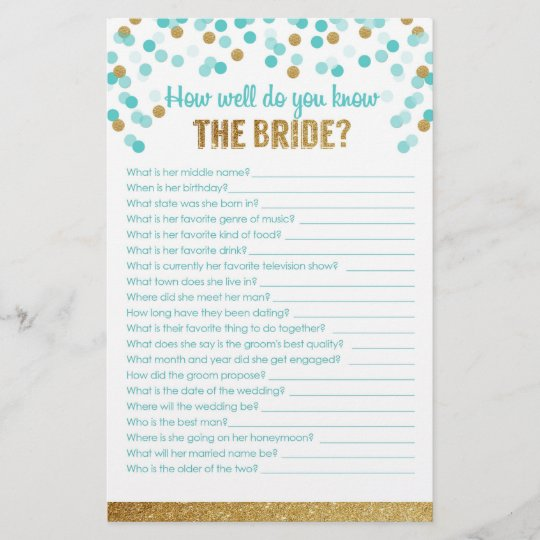 How Well Do You Know The Bride: Bridal Shower Game How Well Do You Know The Bride