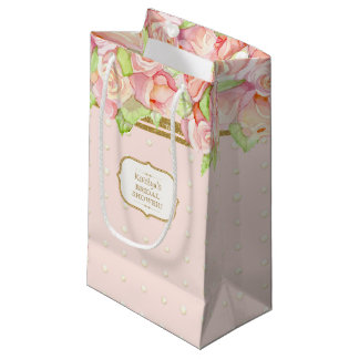 Bridal Shower Gift Bag Watercolor Rose Bouquet Small Gift Bag